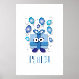 Blue Gift Box - Gender Reveal or Baby Shower Poster