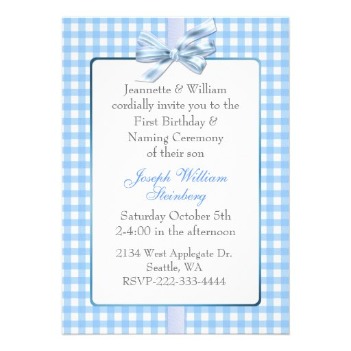 Blue Gingham Baby's Birthday and Naming Ceremony Announcement