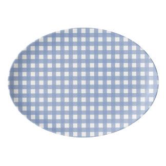 Blue Gingham Serenity Blue Pattern Porcelain Serving Platter