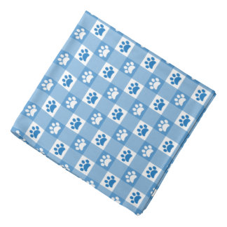 Blue Gingham with Paws Pet Head Kerchief