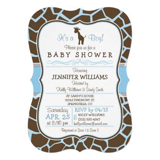 Blue Giraffe Print Boy Baby Shower Invitation