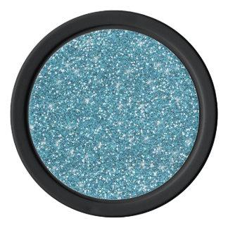 Blue Glitter Printed Poker Chips