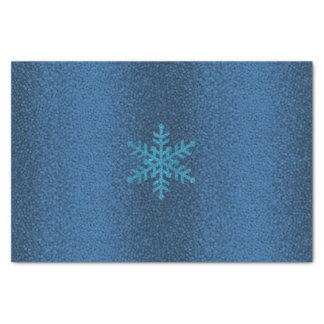Blue Glitter Snowflake on Blue textured Tissue Tissue Paper