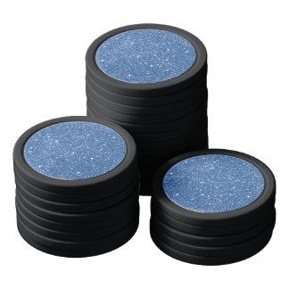 Blue Glitter Sparkles Poker Chips