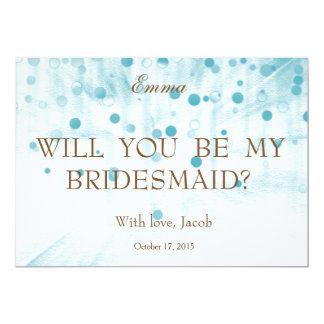 Blue Glitter Will You Be My Bridesmaid Invitation