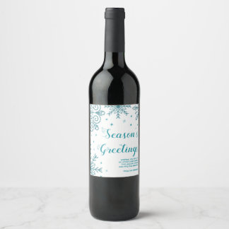 Blue Glittery Snowflake Holiday Wine Bottle Labels