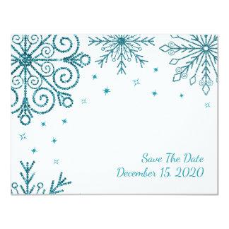 Blue Glittery Snowflake Winter Save The Date 11 Cm X 14 Cm Invitation Card