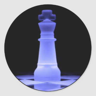Blue Glowing King Chess Piece Classic Round Sticker