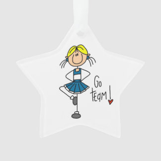 Blue Go Team Cheerleader Ornament