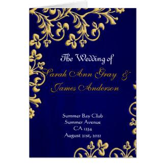 Blue gold and white brocade wedding program card