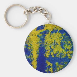 Blue Gold Basic Round Button Key Ring