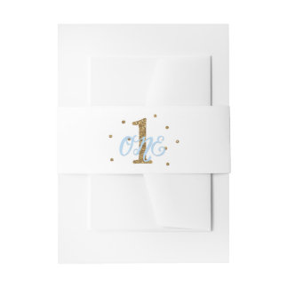 Blue & Gold Boys ONE 1st Birthday Party Invitation Belly Band