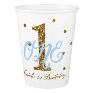 Blue & Gold Boys ONE 1st Birthday Party Paper Cup