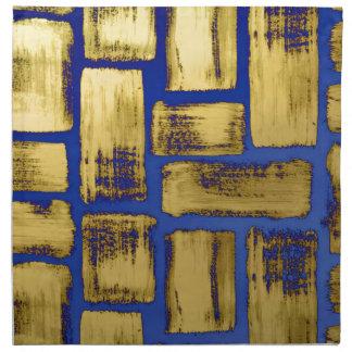 Blue Gold Brushstroke Watercolor Pattern Napkin