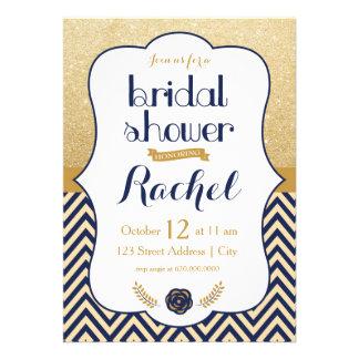 Blue Gold Chevron - Bridal Shower Invitaiton Invite