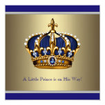 Blue Gold Crown Little Prince Boy Baby Shower Personalised Announcements