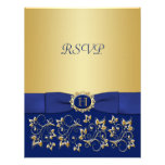 Blue, Gold Floral Scroll Wedding Reply Card Custom Announcements