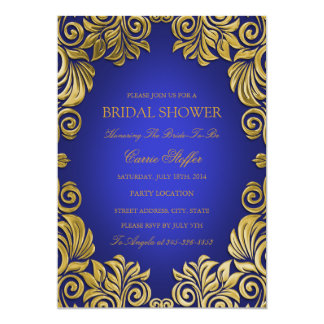 Blue & Gold Floral Swirl Bridal Shower Invite