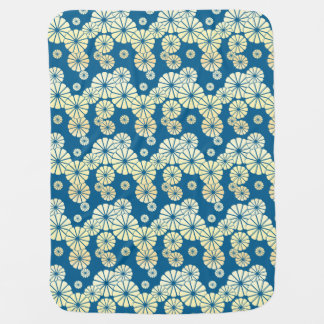 Blue gold foil glam daisy bloom pattern swaddle blankets
