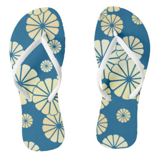 Blue gold foil glam flower bloom pattern thongs