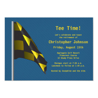 Blue Gold Golf Flag Retirement Party Invitation
