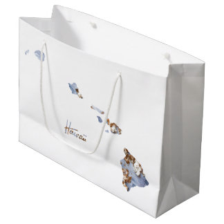 Blue & Gold Hawaii State Map Large Gift Bag