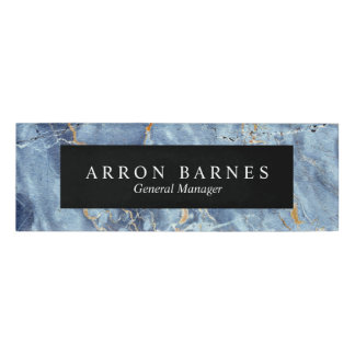 Blue Gold Marble Employee Staff Magnetic Name Tag