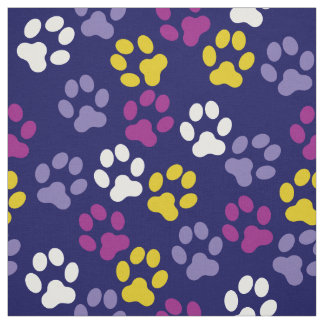 Blue Gold Plum Lavender Paw Prints Pattern Fabric