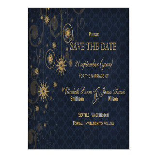 blue gold Snowflakes Winter save the date Magnetic Invitations