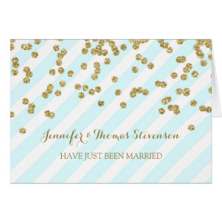 Blue Gold Stripes Just Married Announcement Card