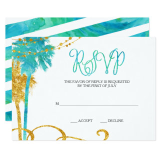 Blue Gold Watercolor Beach Bat Mitzvah RSVP 9 Cm X 13 Cm Invitation Card