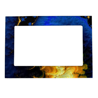 Blue Golden Yellow Fractal Magnetic Picture Frame