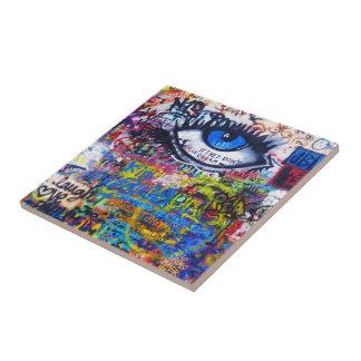 Blue graffiti evil eye small square tile