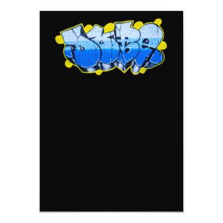 Blue graffiti on a brick wall 13 cm x 18 cm invitation card