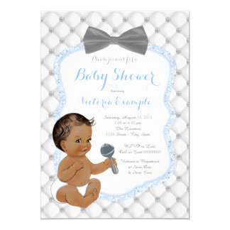 Blue Gray Bow Tie Ethnic Boy Baby Shower Card