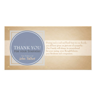 Blue Gray Circle Square Tags Sympathy Thank you P Customised Photo Card