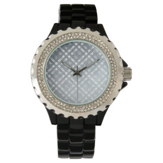 Blue Gray Modern Plaid Netted Ombra 2 Wristwatch