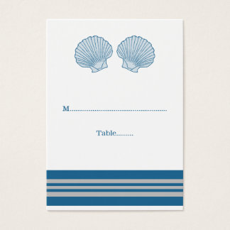 Blue Gray Nautical Seashells Wedding Place Cards