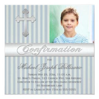 Blue Gray Stripes Confirmation Photo Invitation