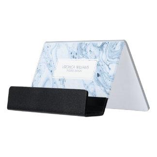 Blue-Gray & White Modern Marble Swirls Desk Business Card Holder