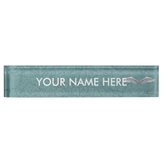 Blue-gray wings desk name plates