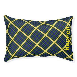 Blue, Green and Yellow Plaid Pet Bed
