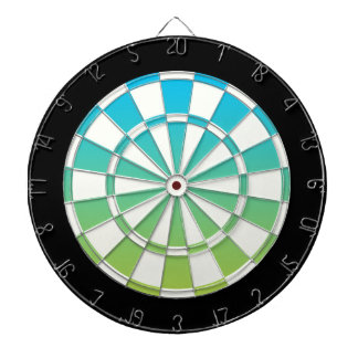 Blue Green Black And White Dartboard With Darts