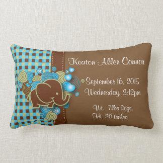 Blue, Green & Brown Plaid Baby Elephant Lumbar Pillow