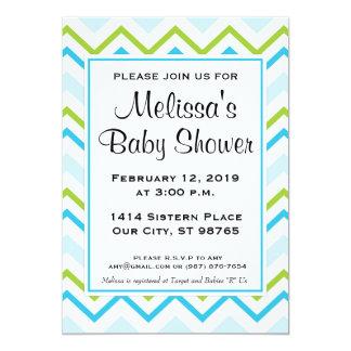 Blue & Green Chevron Custom Baby Shower Invitation