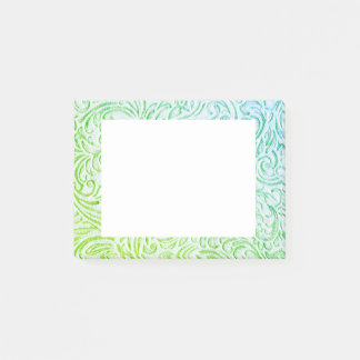 Blue Green Color Vintage Floral Scrollwork Graphic Post-it® Notes