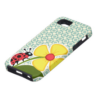 Blue-Green & Cream Floral; Ladybug Tough iPhone 5 Case