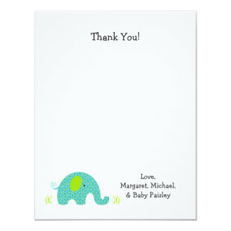 Blue Green Elephant Baby Shower Thank You Notes Card