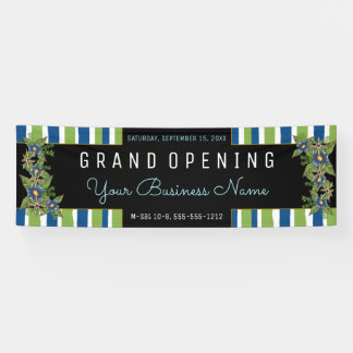 Blue Green Floral Stripes Grand Opening Business Banner