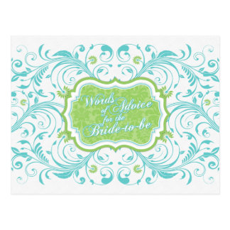 Blue Green Floral Words of Advice for the Bride Postcard